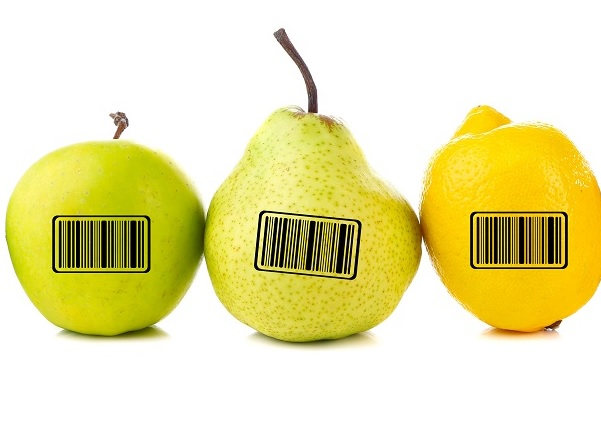 Pears with barcode
